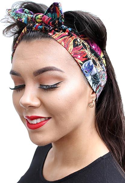 Black Vtg 50s Style Pin Up Head Scarf Bandana Rockabilly Land Girl Retro