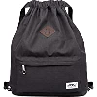 KAUKKO Drawstring Backpack String Bag Sports Outdoor Sackpack Yoga Sackpack Lightweight Sackpack Backpack for Men & Women School (Black)