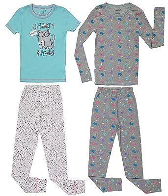 539d3315eb Girls Cute Print Snug Fit Long   Short Sleeve Pajama With Pants Sleepwear  Set (2T