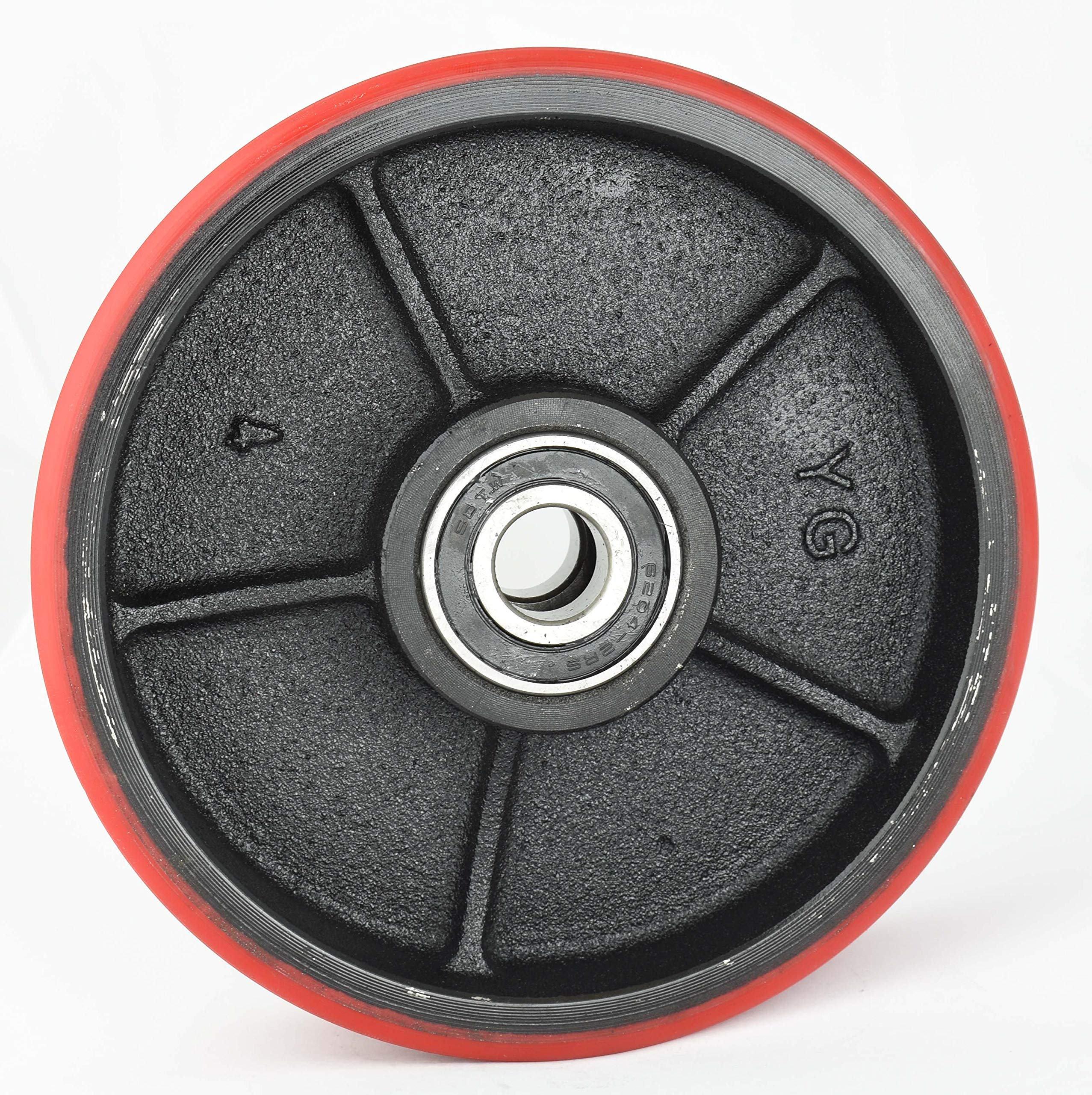 Pallet Jack/Truck Steering Wheels 7''x2'' Set with Front Load Roller 2.75'' x 3.75'' (4 pcs) with Bearings ID 20mm Poly Tread Red by CARBO GLIDE (Image #3)