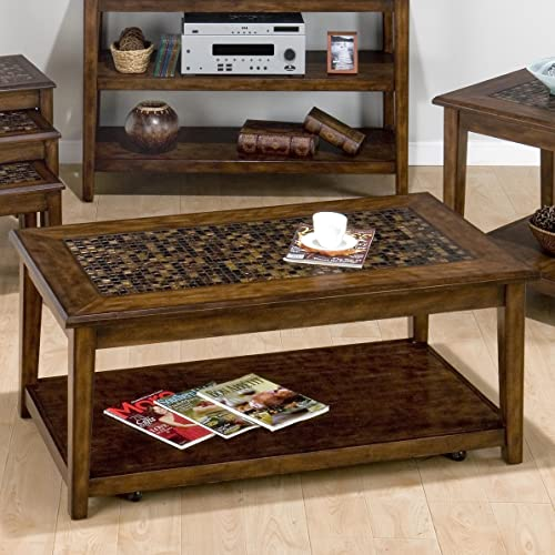 Jofran Baroque Brown Cocktail Table with Mosaic Tile Inlay