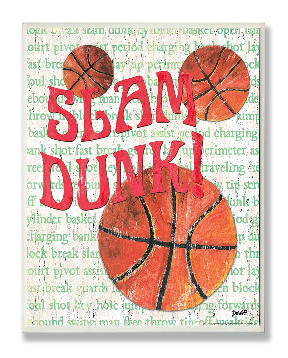 The Kids Room by Stupell Slam Dunk Basketball Typography Rectangle Wall Plaque Stupell Industries BRP-1325