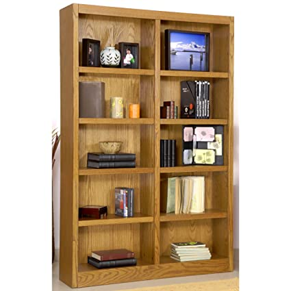 Ten Shelf Double Bookcase 72quotH Dry Oak Finish