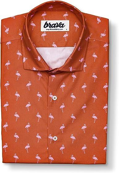 Brava Fabrics | Camisa Hombre Manga Corta Estampada | Camisa Roja para Hombre | Camisa Casual Regular Fit | 100% Algodón | Modelo Magnum Flamingo | Talla 3XL: Amazon.es: Ropa y accesorios