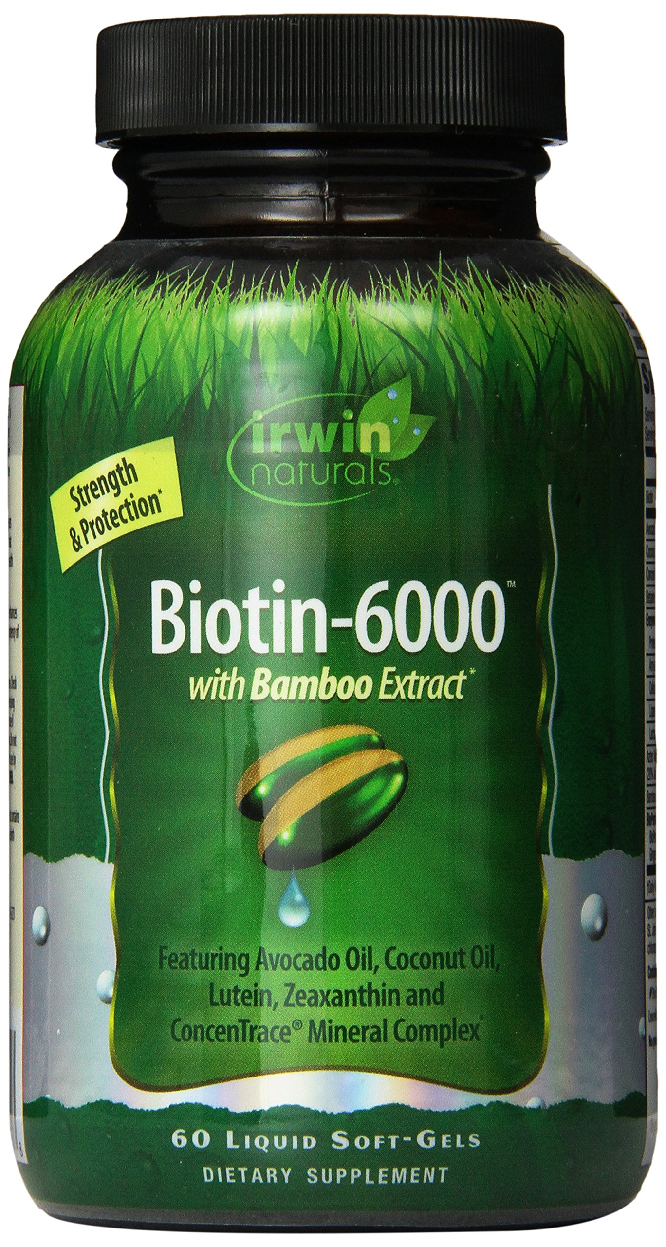 Biotin-6000 Hair & Nails by Irwin Naturals, with Bamboo Extract for Strength & Protection, 60 Liquid Soft-Gels