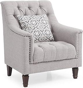 "Glory Furniture Charleston Chair, Light Gray. Living Room Furniture 37"" H x 31"" W x 31"" D"