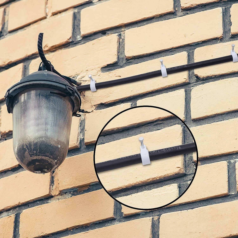 10 mm avec Clous Fixation Cable Electrique T/él/éphone 6 mm 8 mm Lot de 400 Attaches Cable Assortiment de Cavalier Electrique 7 mm TV pour Usage Int/érieur et Ext/érieur Internet