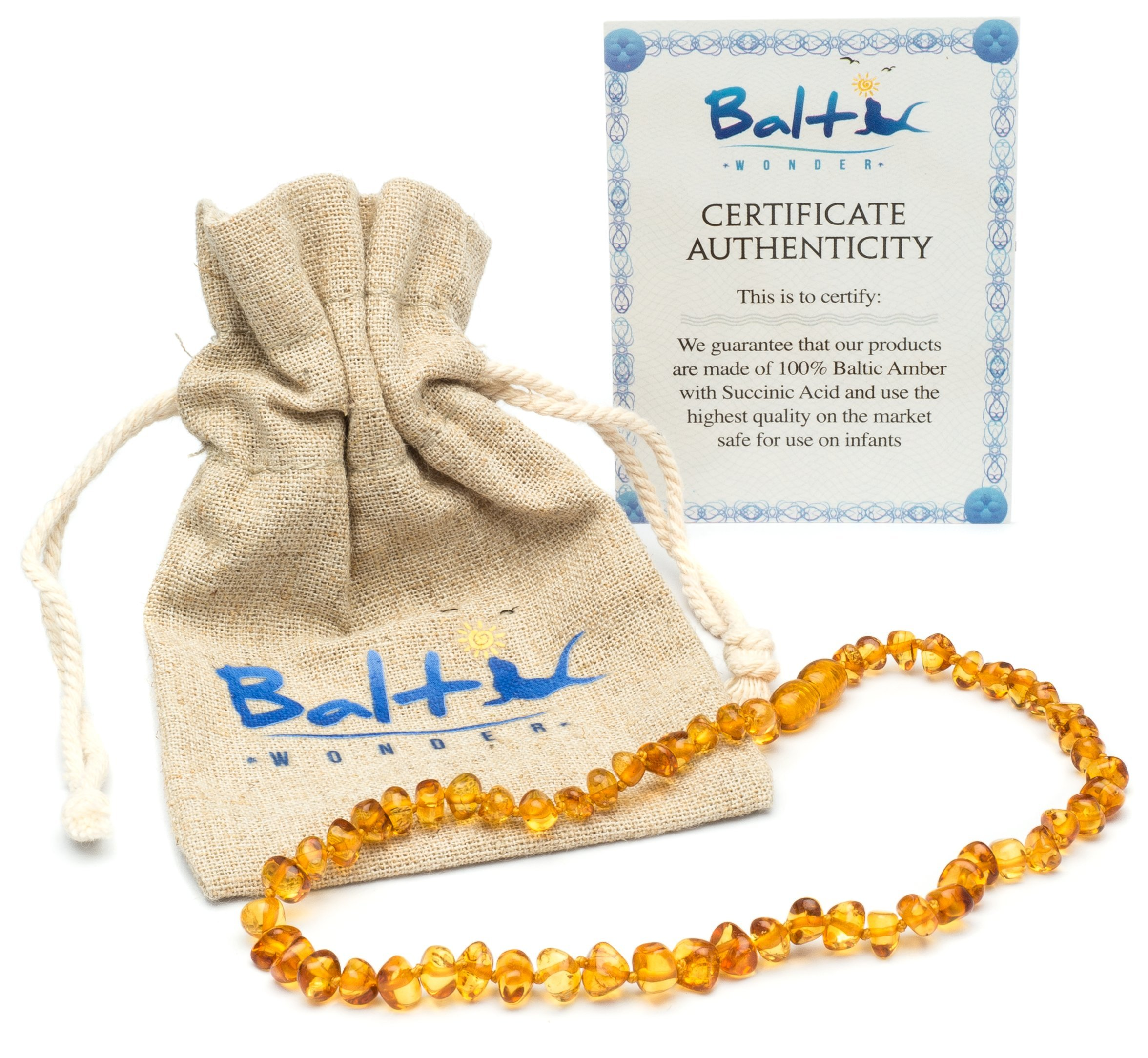Baltic Amber Teething Necklace For Babies (Unisex) (Honey) - Anti Flammatory, Drooling & Teething Pain Reduce Properties - Natural Certificated Oval Baltic Jewelry with the Highest Quality Guaranteed by Baltic Wonder