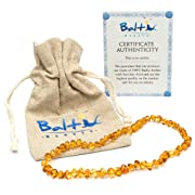 Baltic Amber Teething Necklace For Babies (Unisex) (Honey) - Anti Flammatory, Drooling & Teething Pain Reduce Properties - Natural Certificated Oval Baltic Jewelry with the Highest Quality Guaranteed