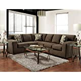Roundhill Furniture Bergen Fabric Sectional Sofa, Espresso