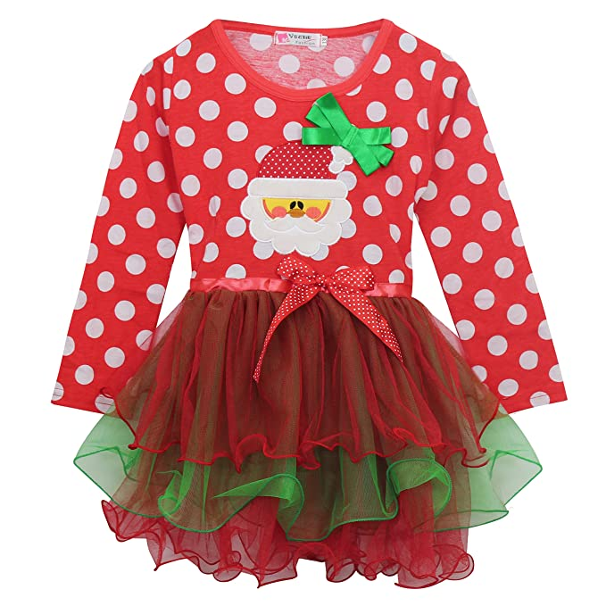 kiddom new little girls long sleeve one piece dress christmas costumes red