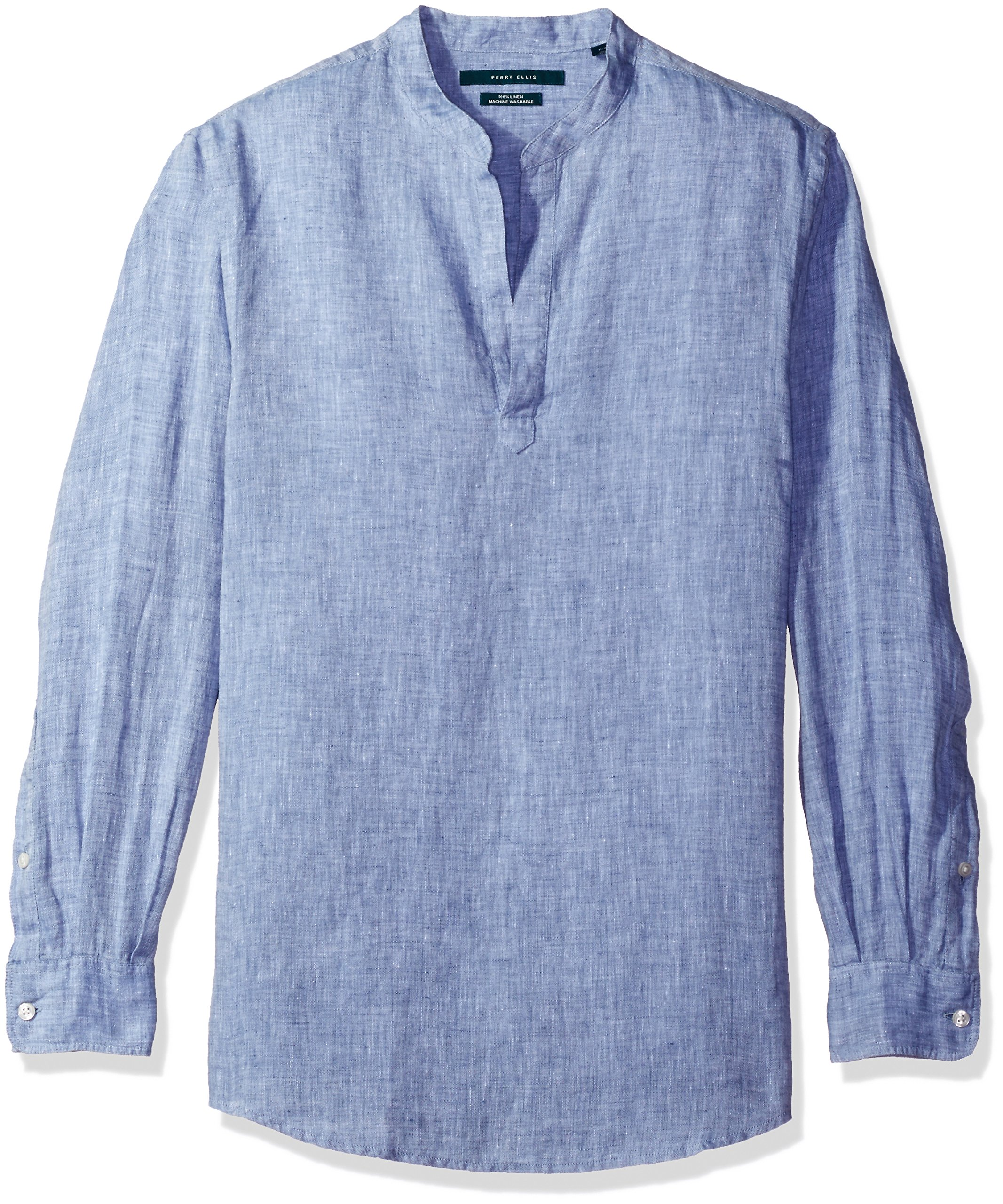 Perry Ellis Men's Long-Sleeve Solid Linen Popover Shirt, Colony Blue, Extra Extra Large