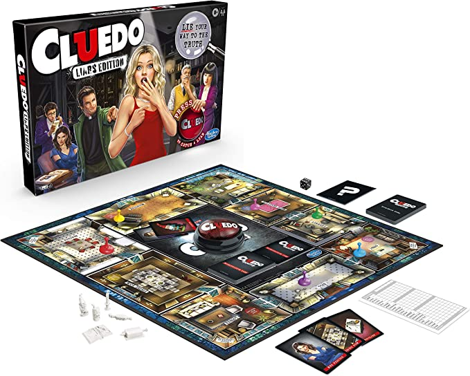 Hasbro Gaming Cluedo Liars Edition Juego de Mesa de Juego; Juego de Misterio de Asesinato para niños a Partir de 8 años de Edad; Exponer Detectives deshonestos con el botón mentiroso: Amazon.es: