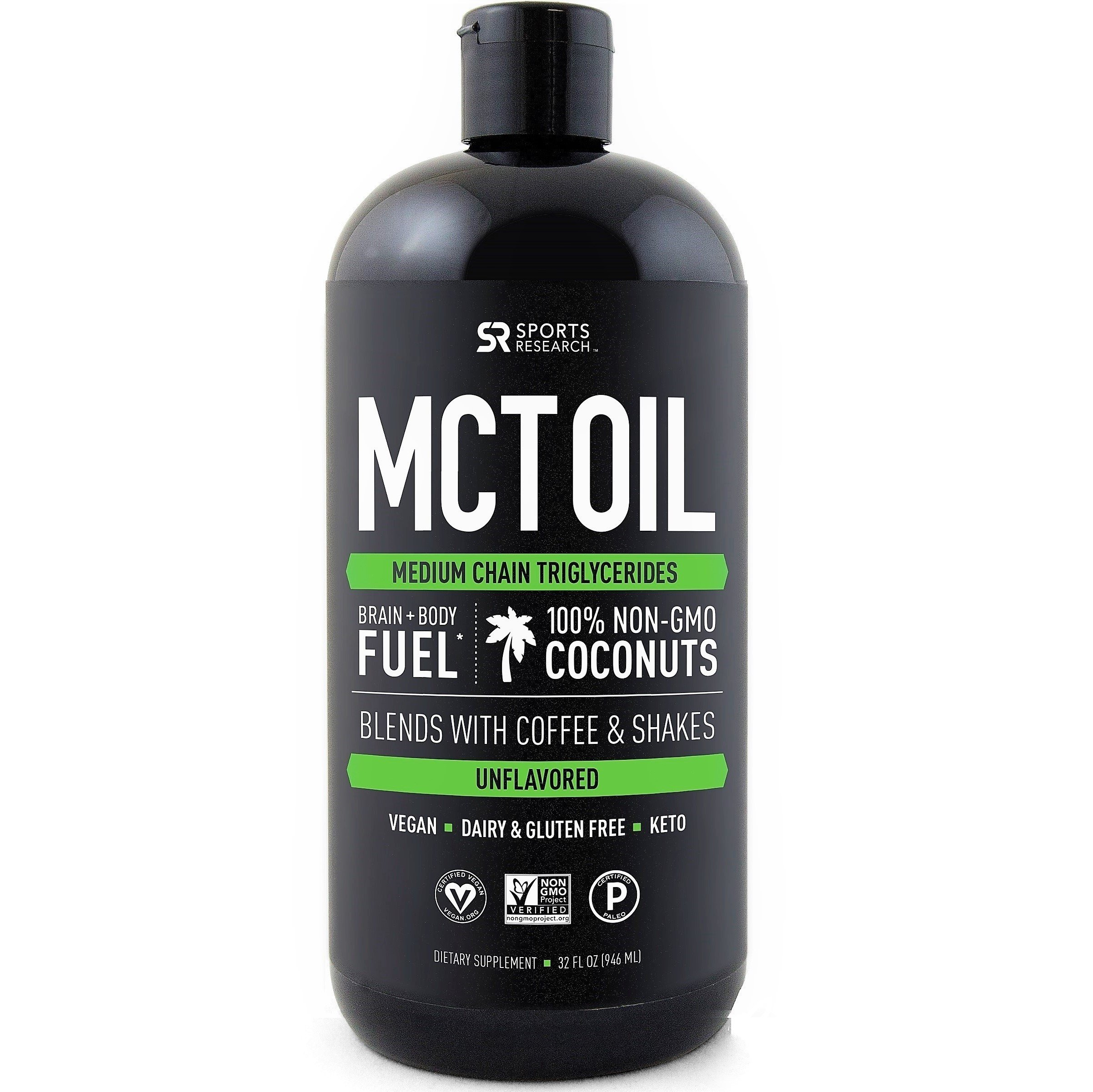 Premium MCT Oil derived only from Coconut Oil - 32oz BPA free bottle | Ketogenic and Paleo diet approved ~ Non-GMO Project Verified