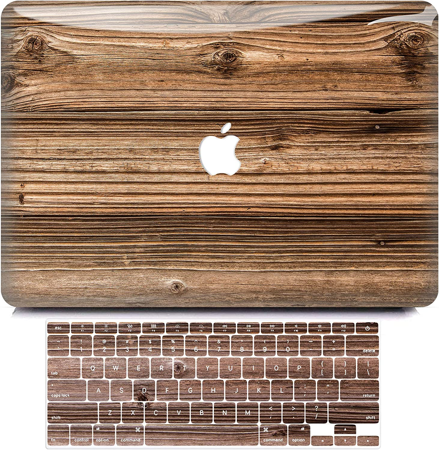 MacBook Air 13 Inch Case 2010-2017 Release Model A1466 A1369, BELKA 3D Slim Smooth Scratch Resistant Snap on Plastic Hard Case with Keyboard Cover for Apple Mac Air 13.3 inch, Walnut