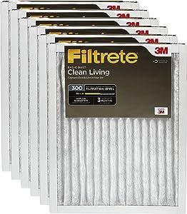 Filtrete MPR 300, 12x30x1, AC Furnace Air Filter, Clean Living Basic Dust, 6-Pack