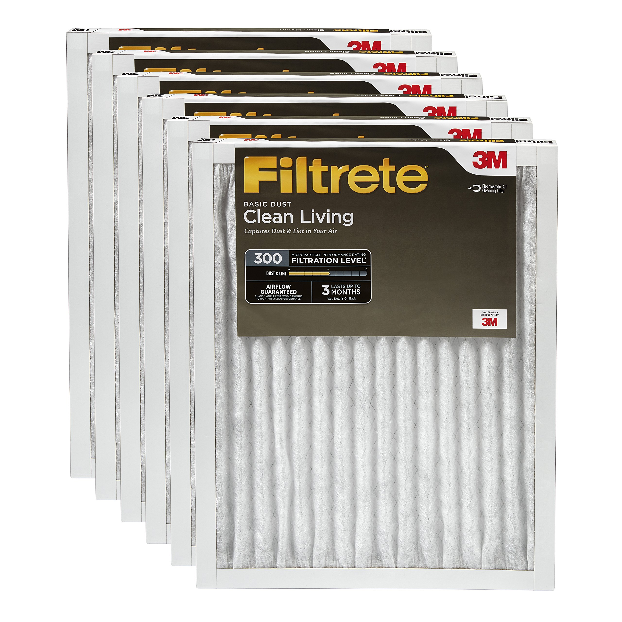 Filtrete Clean Living Basic Dust AC Furnace Air Filter, MPR 300, 10 x 20 x 1-Inches, 6-Pack