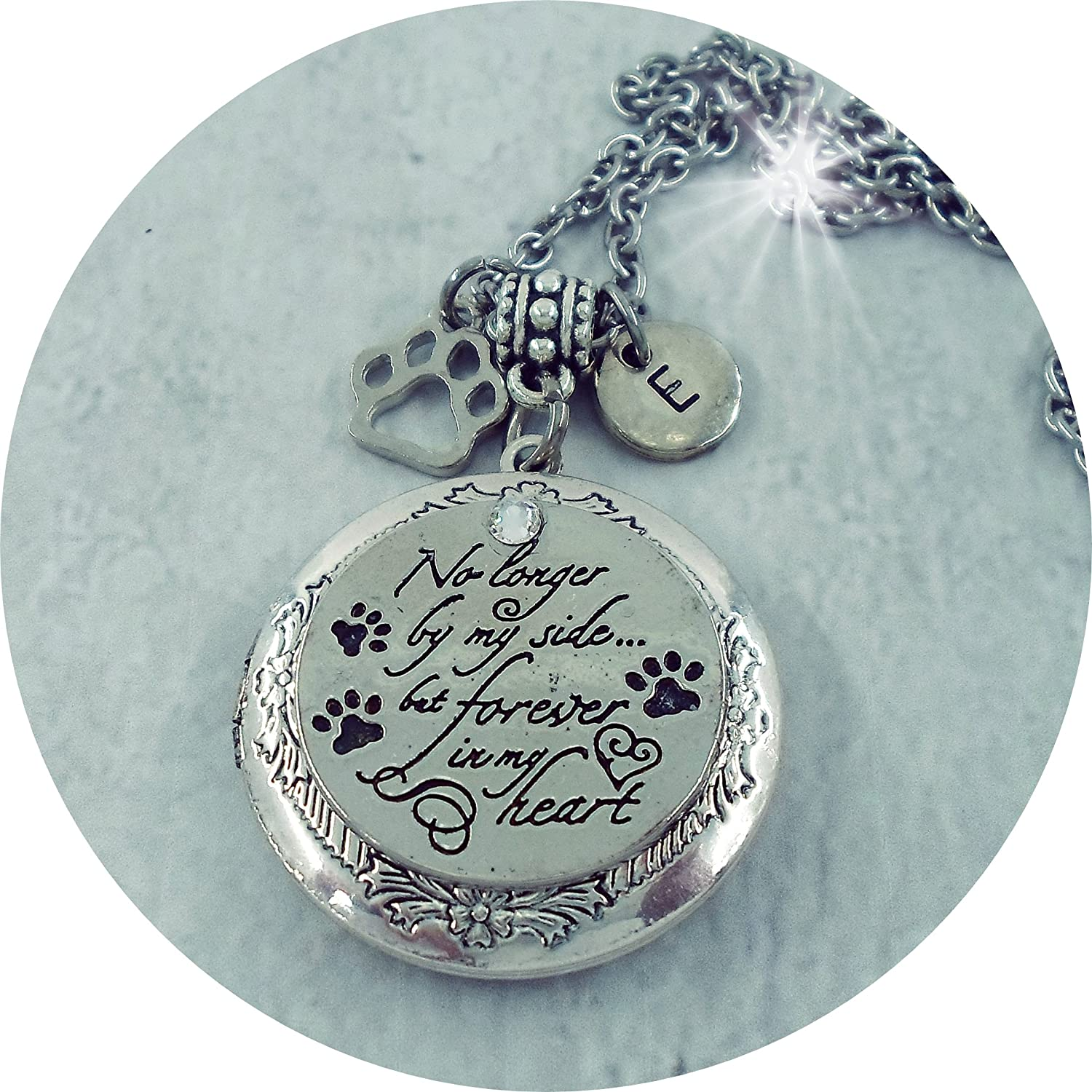 Pet Memorial Locket No Longer by My Side but Forever in My Heart (in Script), Pet Loss Gift Made w-Love self 001
