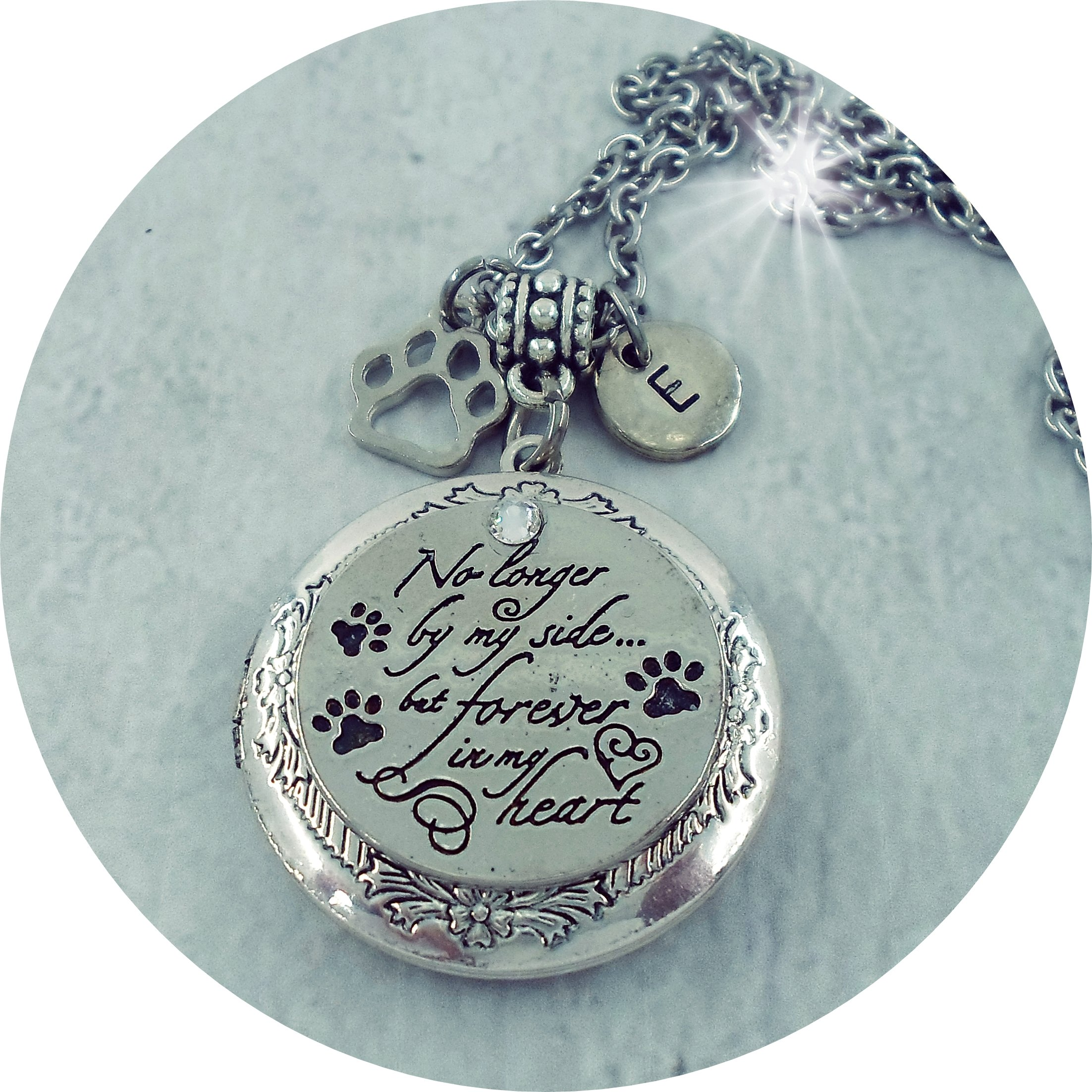 Customized Pet Memorial Locket with Your Photo Inside, No longer by my side but forever in my heart (in Script) made w-Love
