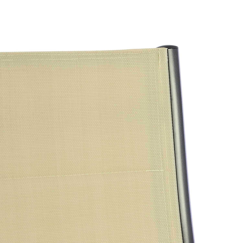 Nexos ZGC34481_SL04 4er Set Deluxe Klappstuhl gepolstert – – – Textilene schwarz Rahmen dunkelgrau-Gartenstuhl Liegestuhl – klappbarer Stuhl aus Aluminium & Kunststoff, Anthrazit f26096