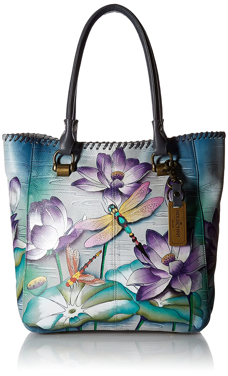 Anuschka Handpainted Leather Large Shopper-Tranquil Pond 609-TQP