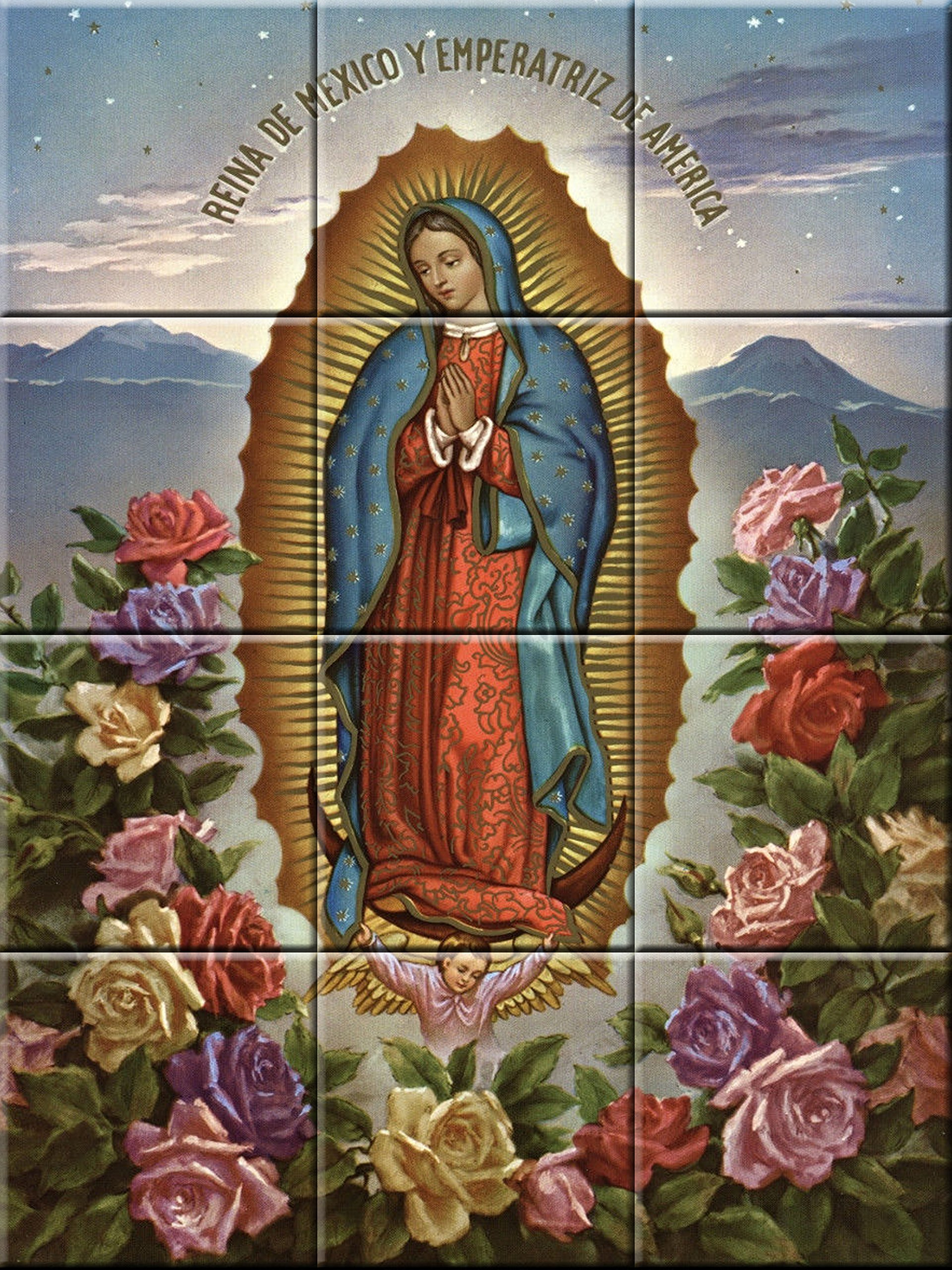 Ceramic tile mural 12.75 X 17 inches reproduction painting Virgin of Guadalupe #2
