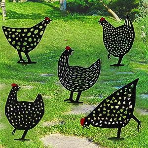 OFOCASE 5PCS Metal Chicken Yard Art, Rooster Garden Silhouette - Chicken Yard Art Metal Chicken Decor Outdoor Shadow Rooster Garden Statues, Chicken Garden Decoration and Metal Rooster Yard Decor