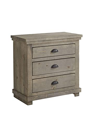 Amazon.com: Mesita de noche en Distressed WEATHERED Gris ...