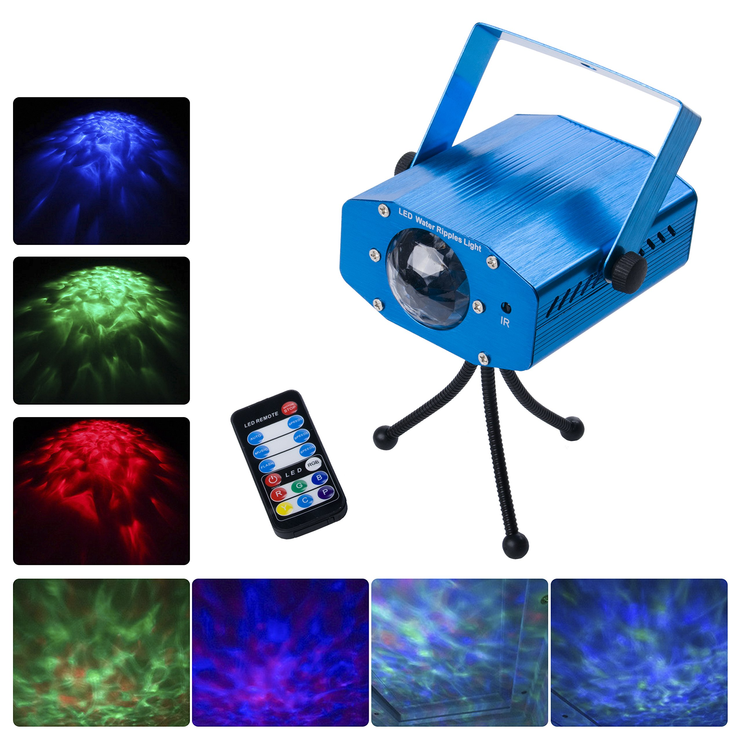 DuaFire Laser Lights, 7 Colors Led Stage Party Light Projector, Strobe Water Ripples Lighting for Wedding, Home Karaoke, Club, Bar, Disco and DJ