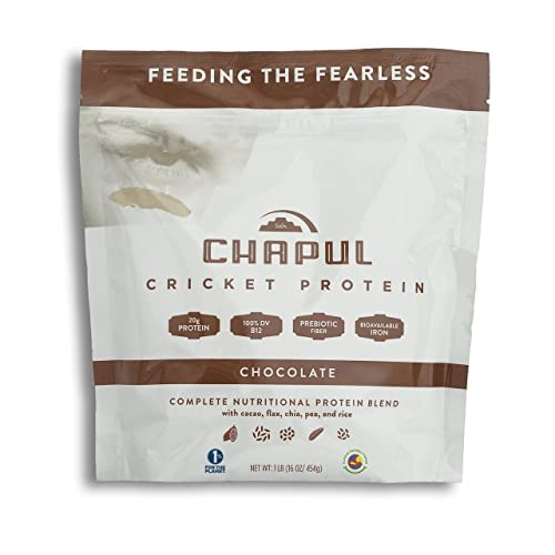 Chapul Cricket Protein Powder Chocolate, 1 Pound – 20g Complete Protein per Serving, High in Prebiotic Fiber, Low Sugar, 5 Net Carbs, Keto-Friendly