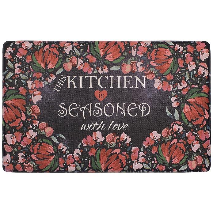 Chef Gear Kitchen Seasoned with Love 20 x 39 in. Gelness Mat, Black