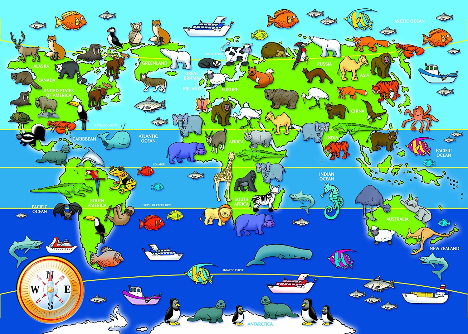 Ravensburger 7072 animals of the world giant floor jigsaw puzzle ravensburger 7072 animals of the world giant floor jigsaw puzzle 60 pieces ravensburger amazon toys games sciox Gallery