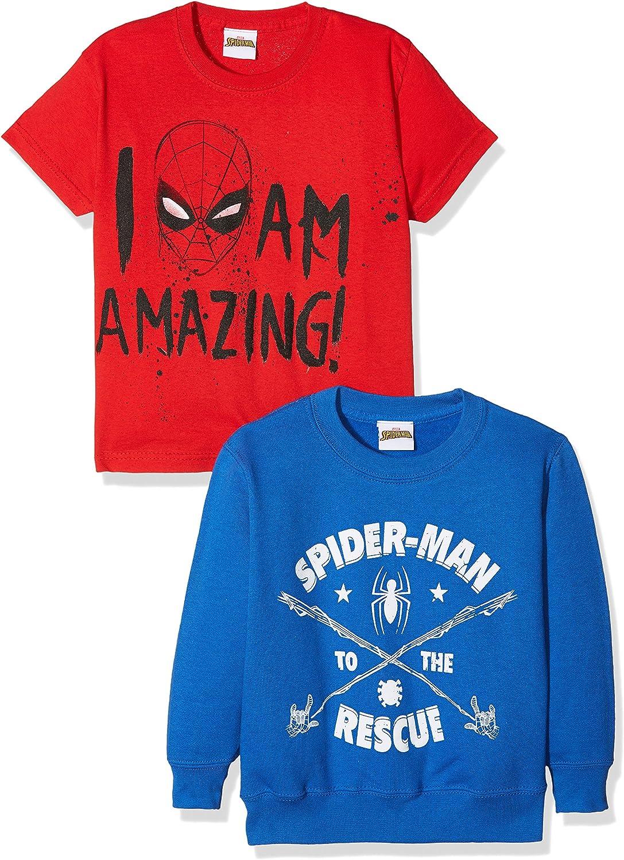 FABTASTICS Camiseta y Sudadera Spiderman para Niños, pack de 2 ...