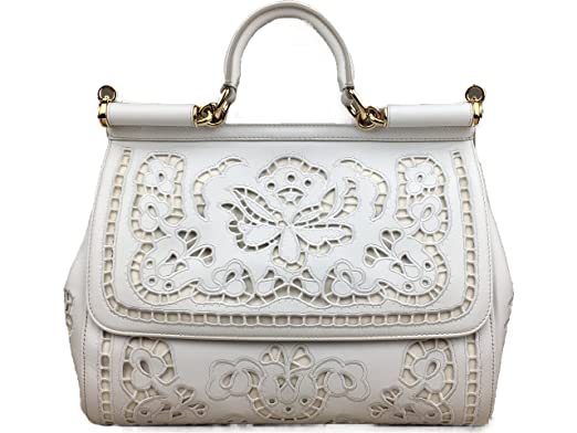 6e64c46ed3e Image Unavailable. Image not available for. Color: DOLCE & GABBANA Large  Miss Sicily Laser Cut Embroidered Nappa Leather Floral Bag ...