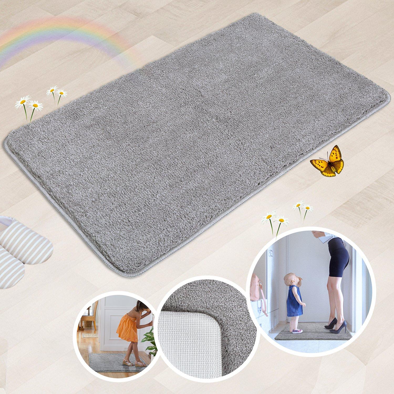 Indoor Doormat Super Absorbs Mud Absorbent Rubber Backing Non Slip Door Mat for Front Door Inside Floor Dirt Trapper Mats Cotton Entrance Rug, 20''x 31.5'' Shoes Scraper Machine Washable Carpet (Grey)