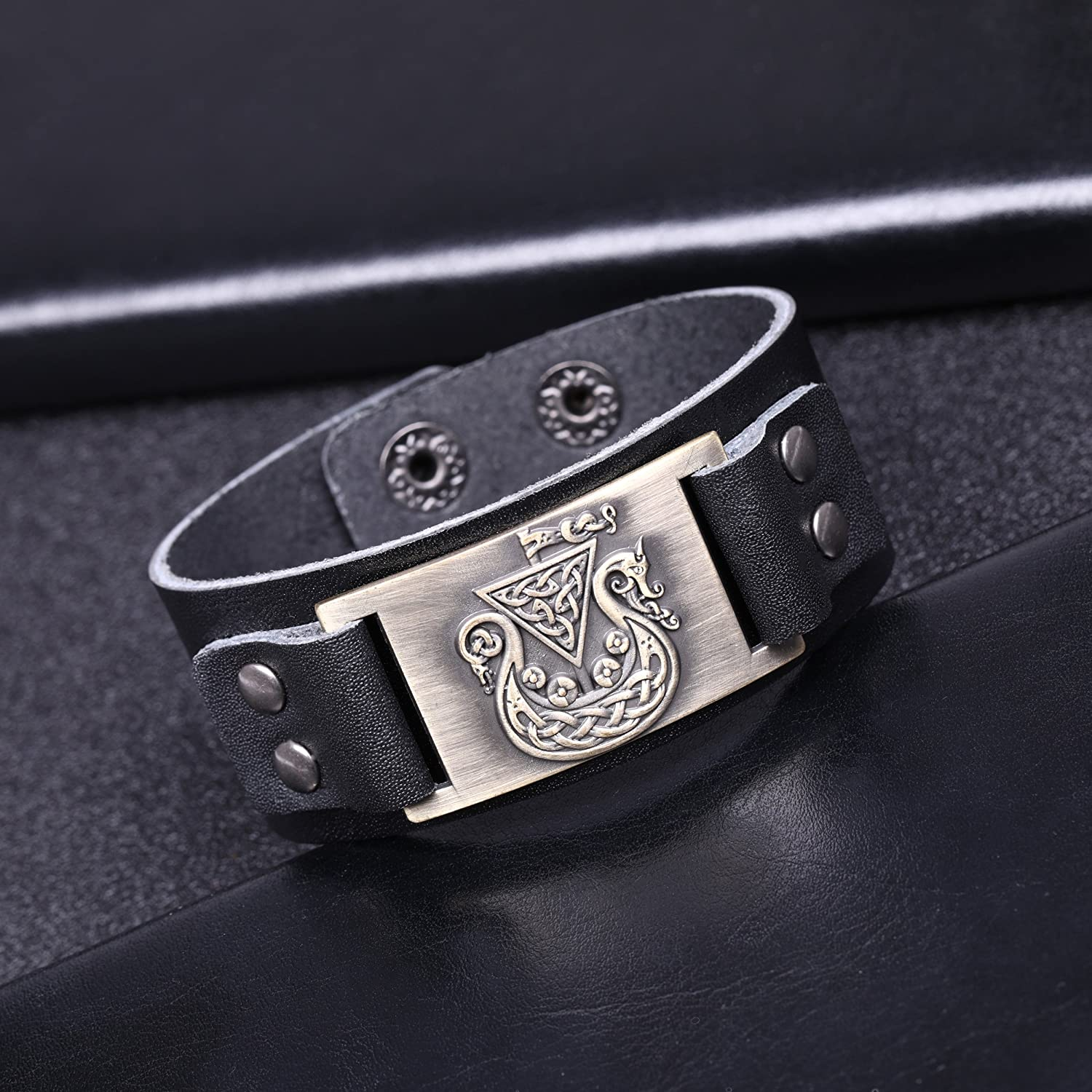 TEAMER Viking Pirate Ship Celtic Knot Leather Bracelet Wristband Punk Unisex Cuff Bangle Women Men Jewelry
