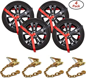 """RYTASH Car Tie Down Straps for Trailers - Tire Tie - Set of 4 - Ratchet Strap - Safety Approved - Industrial Grade - 2"""" x 96"""" Straps - Compatible with Car, Trucks, SUV - 3300 LB Load - Heavy Duty"""
