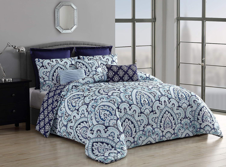 Geneva Home Fashion Palma Comforter Set, Queen, Blue