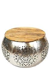 Wohnzimmertisch Couchtisch rund modern Metall und Holz ø 70cm | Marokkanischer runder Vintage Tisch aus Metal für Ihre Wohnzimmer | Moderner Design Sofatisch in Silber Antik Hochglanz Carlsen ø 70cm