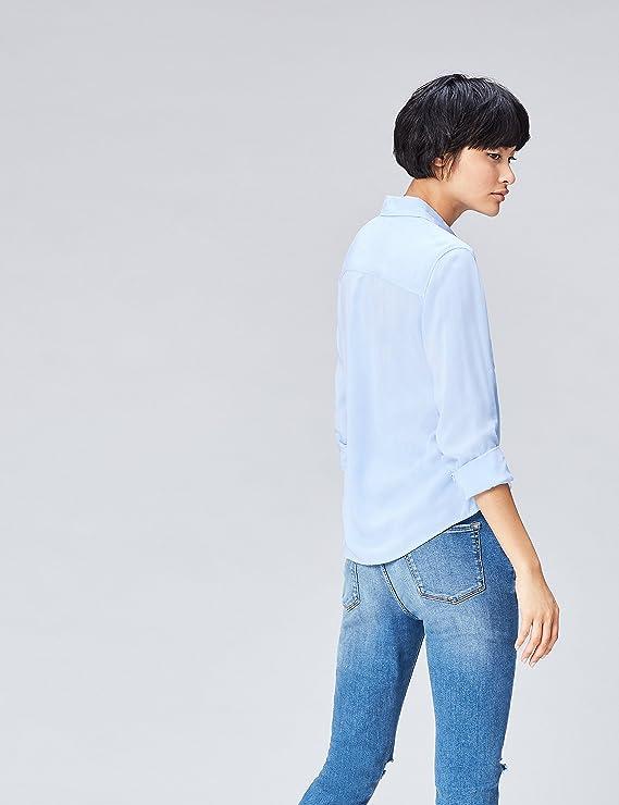 FIND Camisa de Manga Larga con Bolsillos para Mujer: Amazon.es: Ropa y accesorios