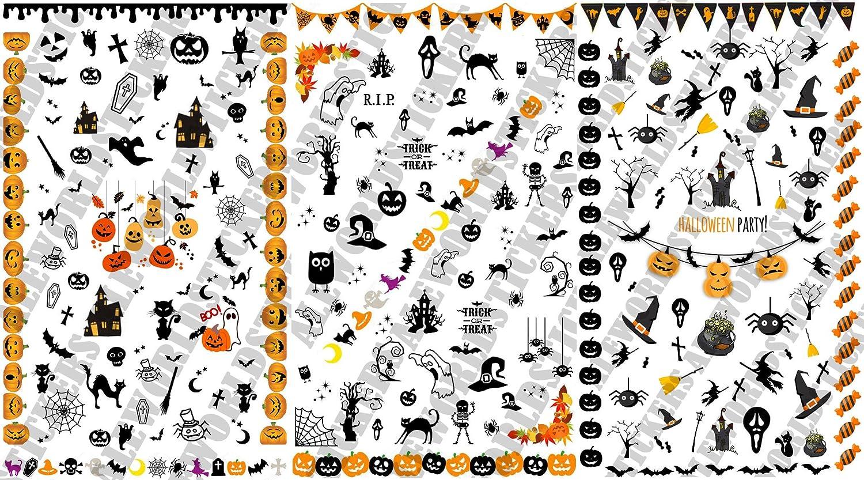 AWS Multipack 3 Foglietti Nail Art Water decals Halloween PARTY unghie adesivi strega Sheet stickers transfer dolcetto scherzetto trick treat pumpkin fantasma caramella zucca (halloween multipck)