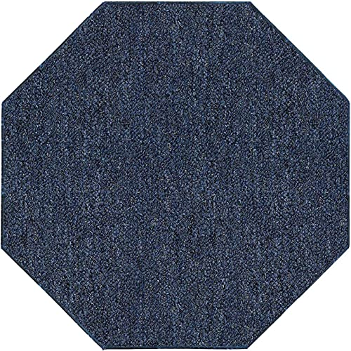 Ambiant Broadway Collection Pet Friendly Indoor Outdoor Area Rugs Petrol Blue – 12 Octagon