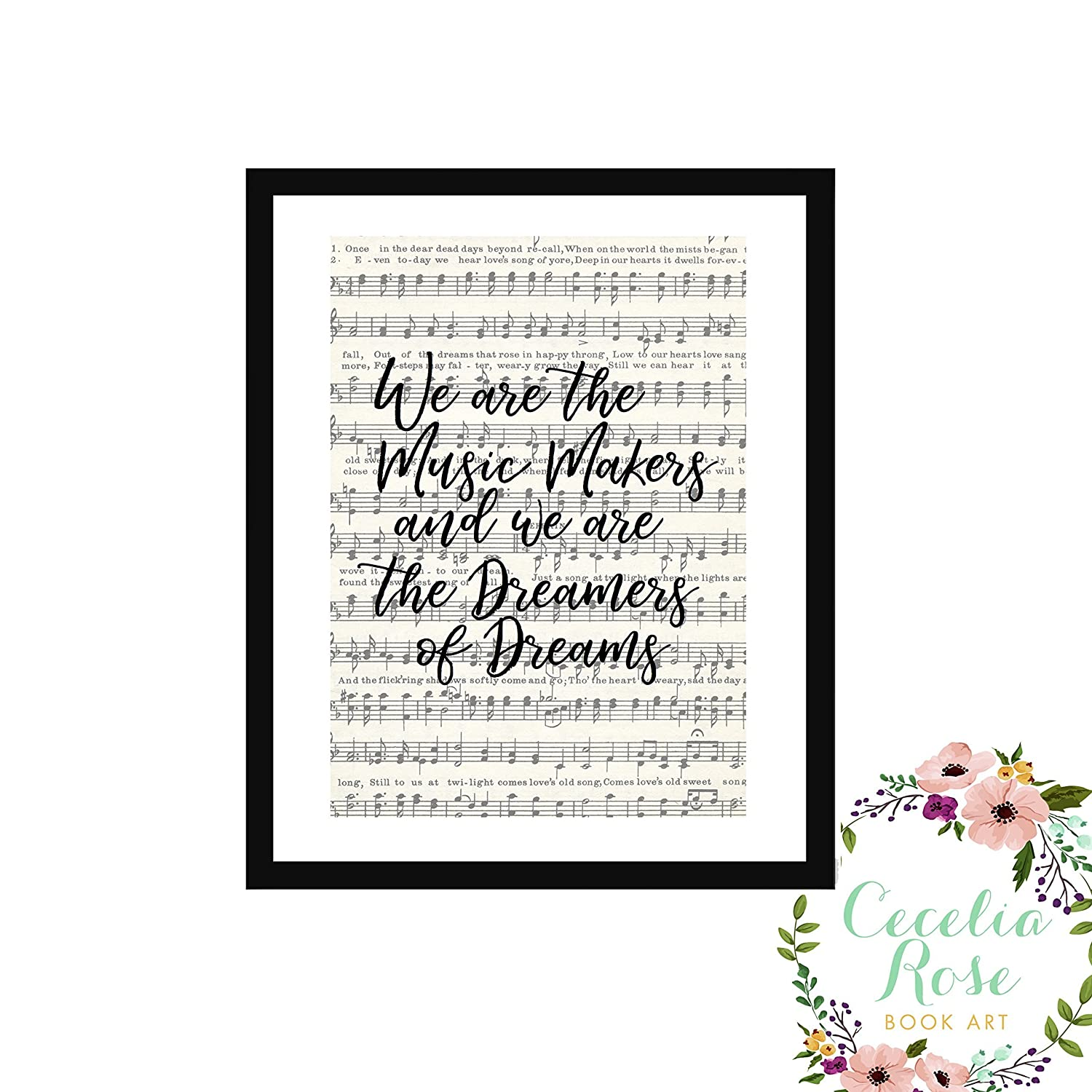 We are the music makers and we are the dreamers of dreams Willy Wonka  Charlie and the Chocolate Factory Farmhouse Inspirational Quote Upcycled  Vintage