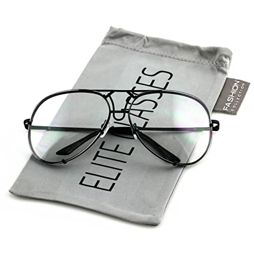 ba10ef92c Elite Aviator Sunglasses VINTAGE Clear Lens Men Women Fashion Style Retro  Frame (Black, 2.5