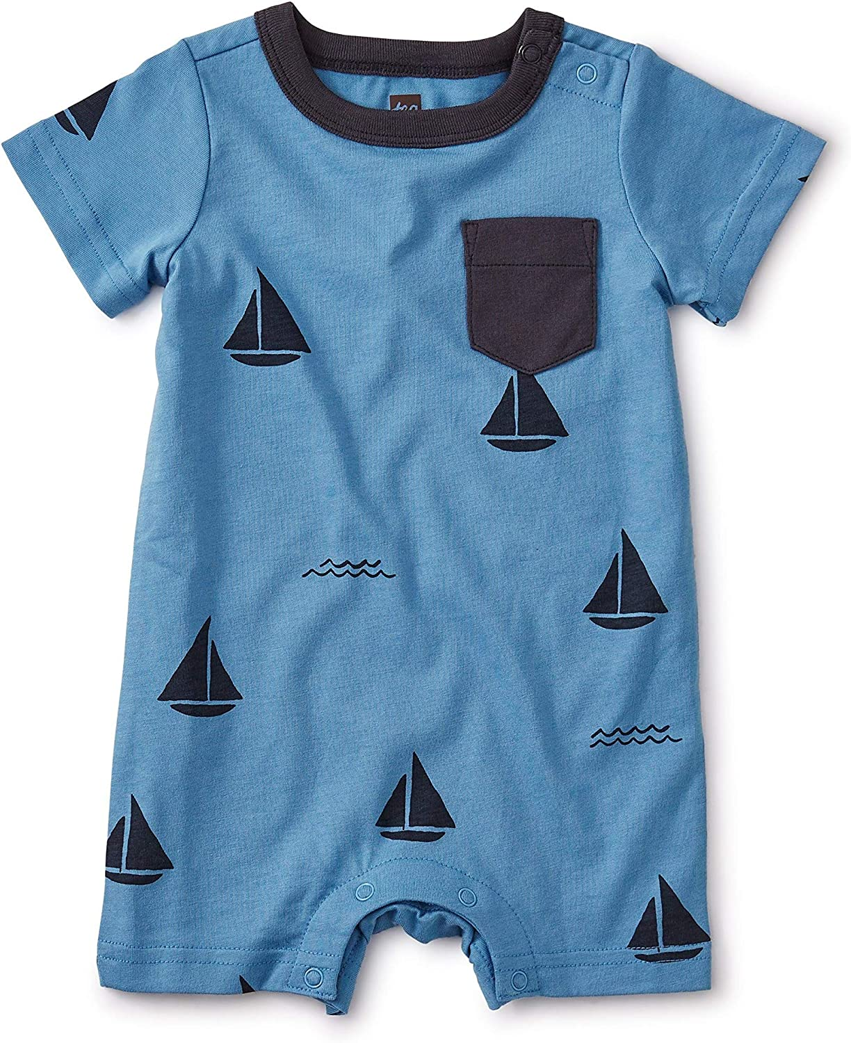 Tea Collection Newborn Sail Boats Printed Pocket Baby Romper