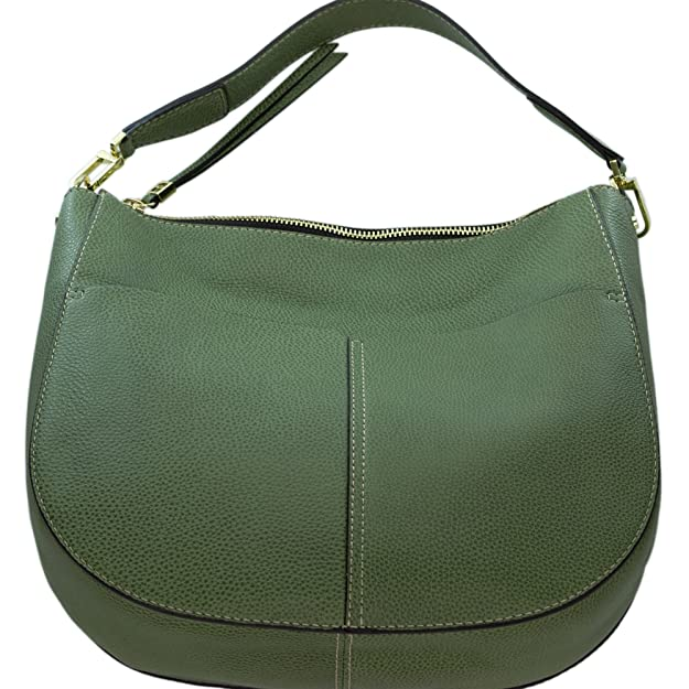 fc65d1127a9 Amazon.com: Gianni Chiarini Italian Made Moss Green Pebbled Leather Large  Front Pockets Hobo Bag: Shoes