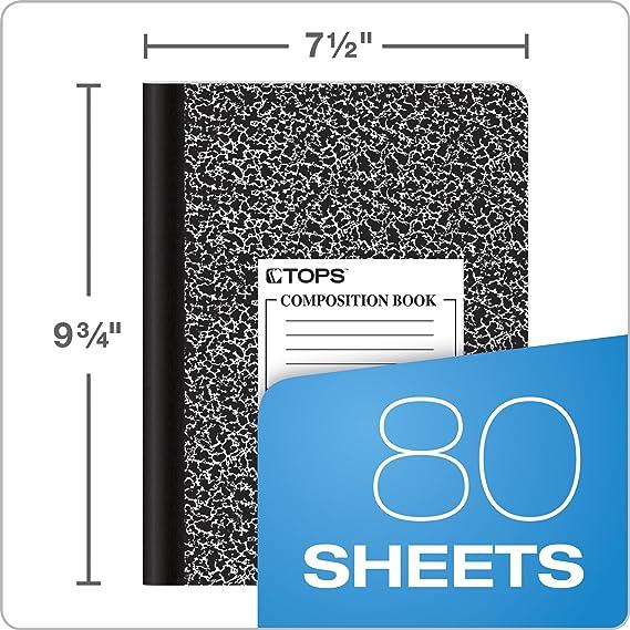 Amazon.com : TOPS Composition Book, 9-3/4 x 7-1/2, Graph Rule, Black ...