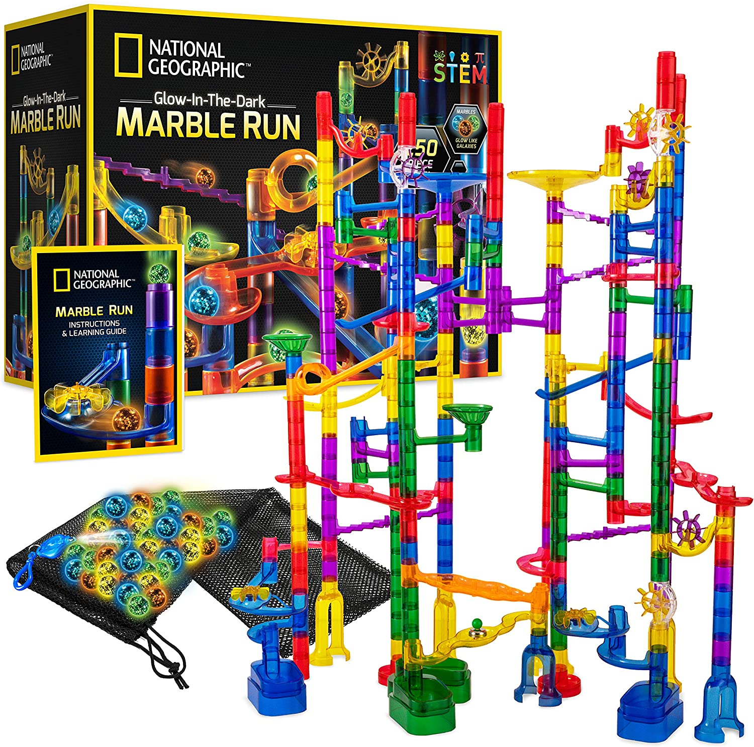 Amazon Com National Geographic Glowing Marble Run 250 Piece Construction Set With 50 Glow In The Dark Glass Marbles Mesh Storage Bag Great Creative Stem Toy For Girls Boys Toys Games