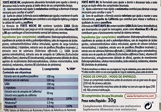 FORTÉ NOCHE 8H 30 comprimidos (Con melatonina,triptófano ...