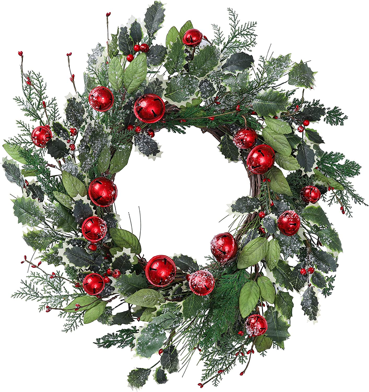 YNYLCHMX 22 Inch Artificial Christmas Wreath for Front Door, Door Wreath Flushed with Snowflake Green Leaves with Red Bells with Pine Needle, Home Decor for Indoor, Windows, Holiday, Decoration